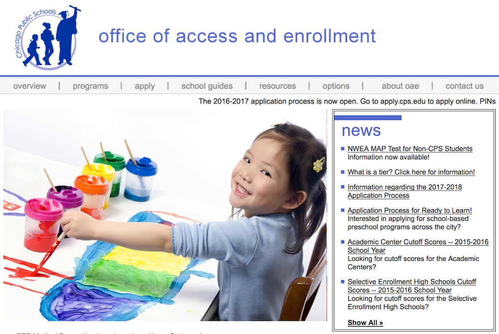 The Chicago Public Schools Office of Access and Enrollment website