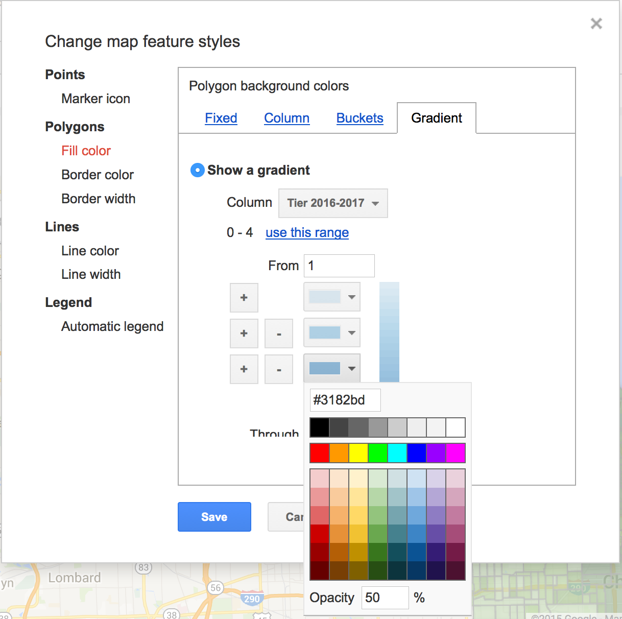 Customizing the Fusion Tables map styles