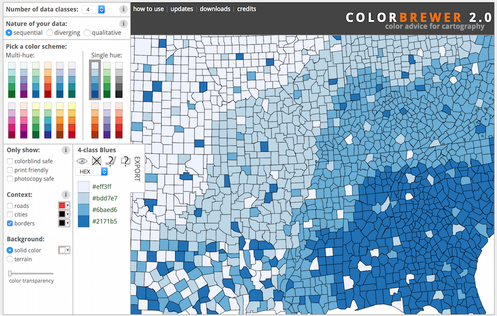 ColorBrewer using 4 data classes, sequential, and the blue single hue
