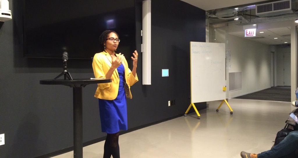 Adrienne Alexander tells Chi Hack Night what she does as a union lobbyist