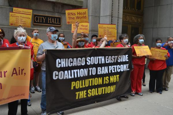 Southeast Side Coalition to Ban Petcoke protest outside of City Hall