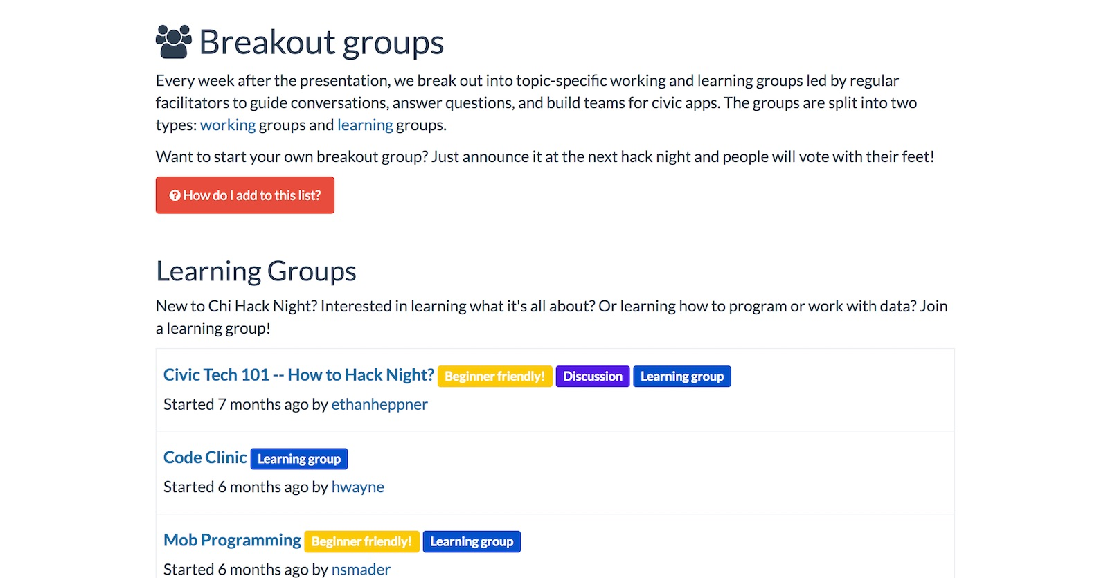 Chi Hack Night breakout groups page