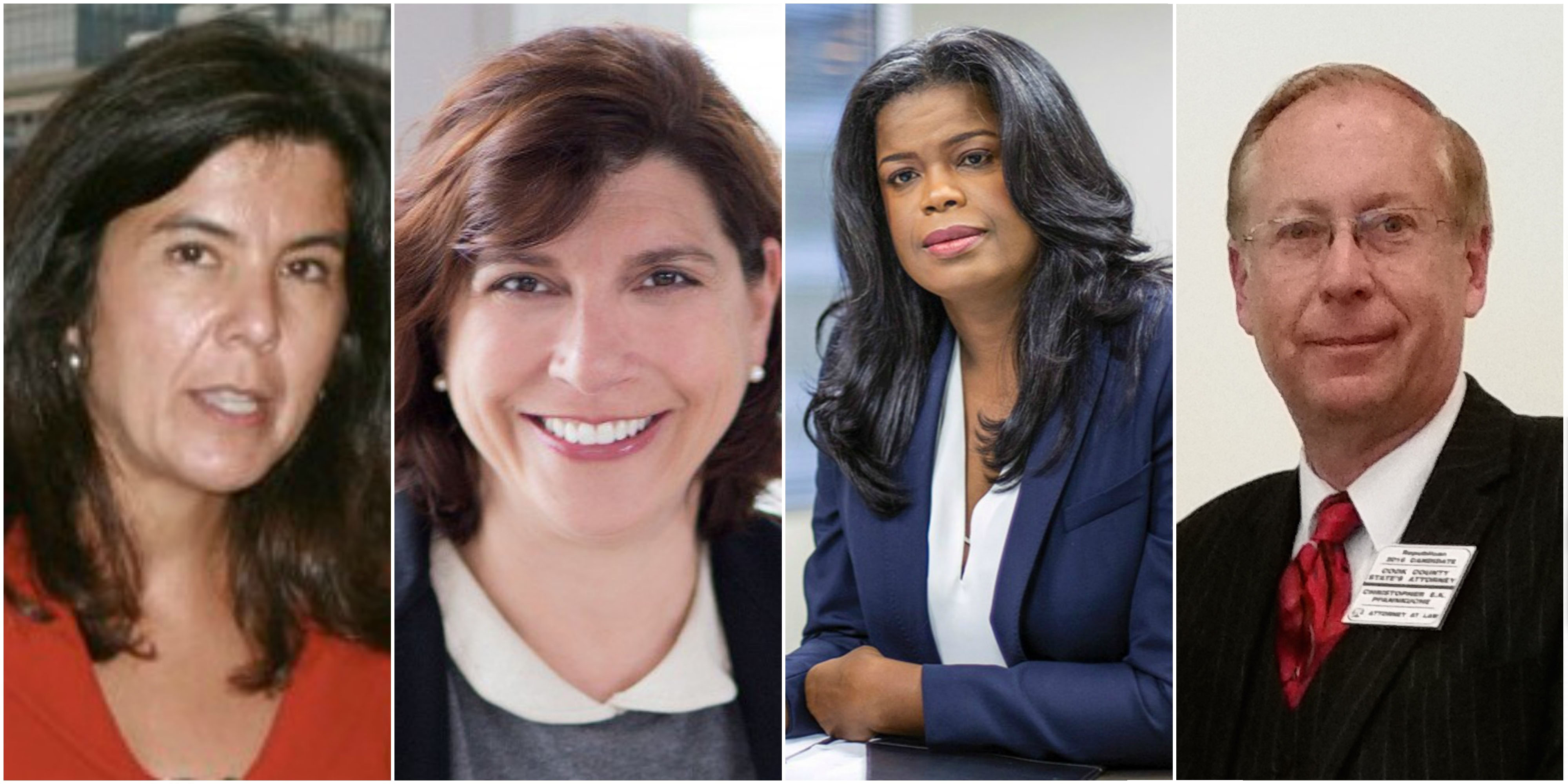 Candidates for Cook County State's Attorney: Anita Alvarez (D), Donna More (D), Kim Foxx (D) and Christopher E. K. Pfannkuche (R)