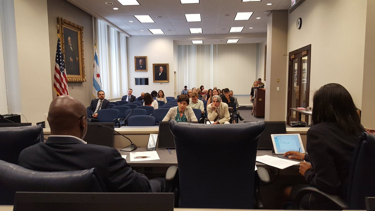 Claire Micklin testifies in Health Committee in support of a stronger Chicago Recycling Ordinance on July 15, 2016 (Photo by Ald Carlos Ramirez-Rosa)