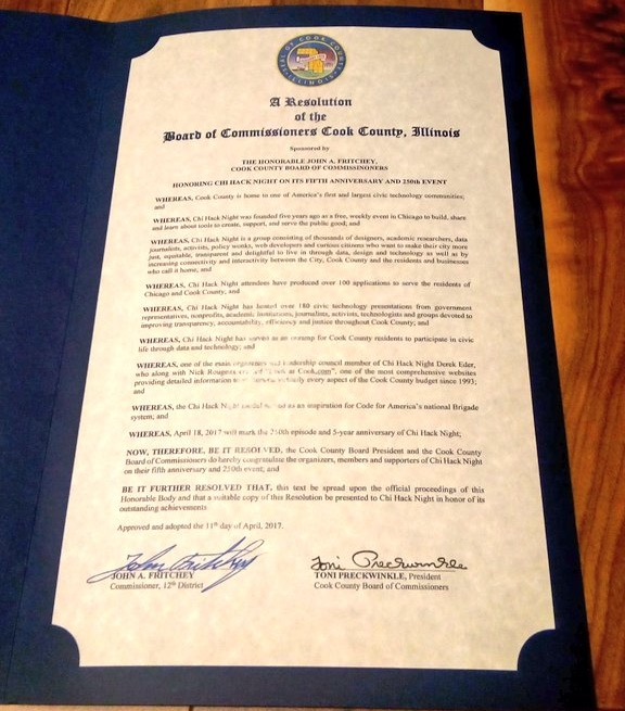 Cook County Board of Commissioners Resolution 17-2735 in honor of Chi Hack Night's 5 Year Anniversary