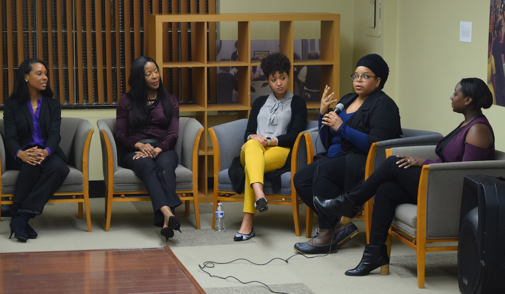 Monique Wingard, Andrea Smith, Britney Robbins, Ehi Aimiuwu-Jinadu and Deena McKay speak at Entrepreneurial Journeys: Black Women Activating Tech on Feb 28, 2018