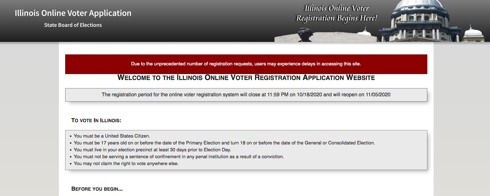The Illinois State Board of Elections online voter registration tool